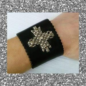 Jewelry - Black leather cross bracelet